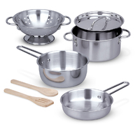 Melissa & Doug: Stainless Steel Pots and Pans Play Set