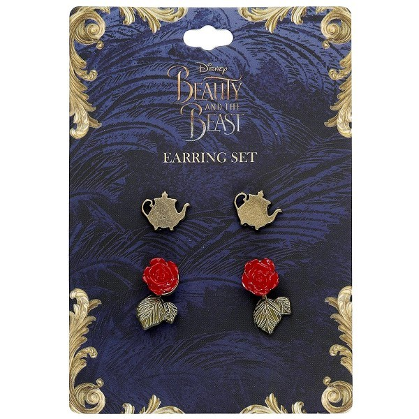 Neon Tuesday: Beauty & The Beast Live Action - Teapot & Rose Earring Set