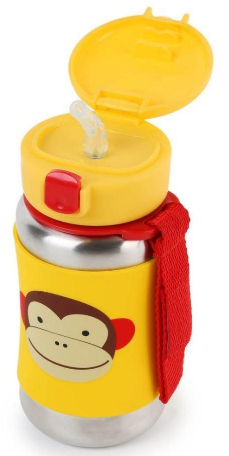 Skip Hop: Zoo Stainless Steel Straw Bottle - Monkey image