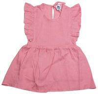 Cheeky Chimp: Linen Short Sleeved Dress - Dusty Pink (Size 6)