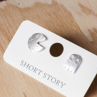 Short Story: Funky Play Earrings - Silver Pacman