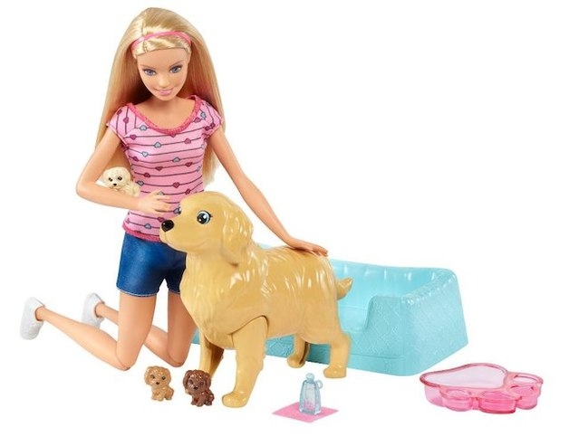 Barbie: Newborn Pups - Doll & Pet Playset