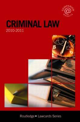 Criminal Lawcards: 2010-2011 by Russell Sandberg (Cardiff University) image
