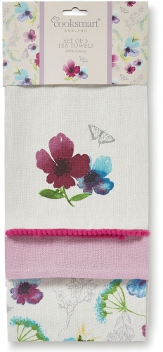 Cooksmart: Chatsworth Floral 3 Pack Tea Towels