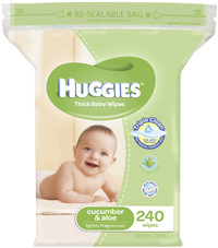 Huggies Cucumber & Aloe Wipes - Jumbo Pack (240)