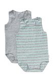Bonds Wonderbodies Single Suit 2 Pack - Granite Marle and White Stripe/Inked Marle - 3-6 Months