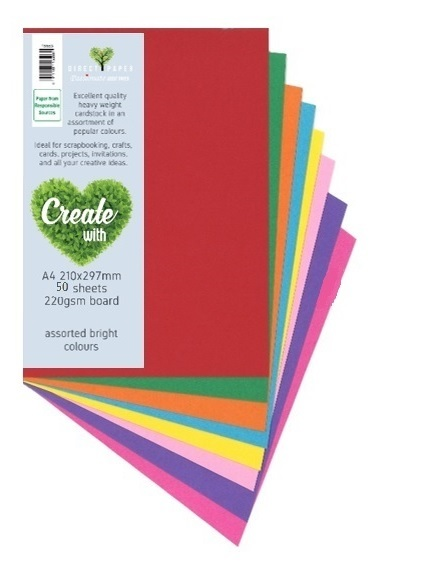 Cardstock A4 220gsm - 10 Brights (50 Pack)