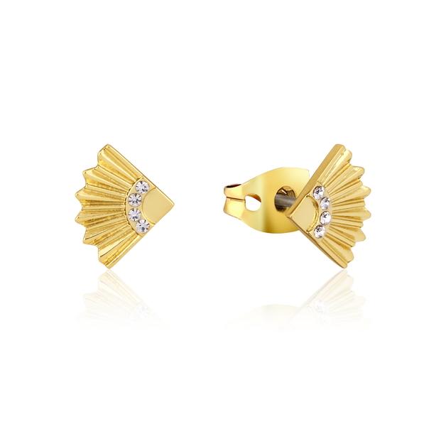 Couture Kingdom: Disney Mulan Fan Stud Earrings Yellow Gold