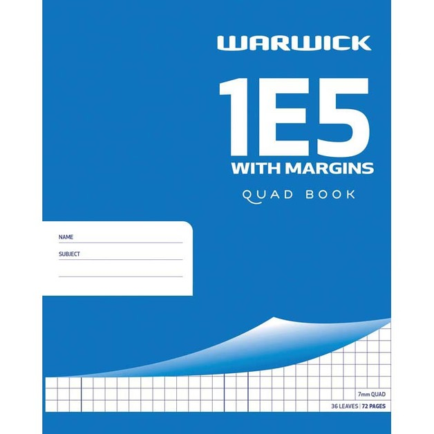 Warwick Exercise Book 1E5 36 Leaf With Margin Quad 7MM 255X205MM