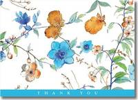 Asian Floral Thank You Notes (14 Cards/Envelopes)