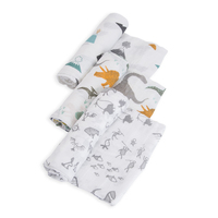 Little Unicorn - Cotton Muslin Swaddle - Dino Friends (3 Pack)