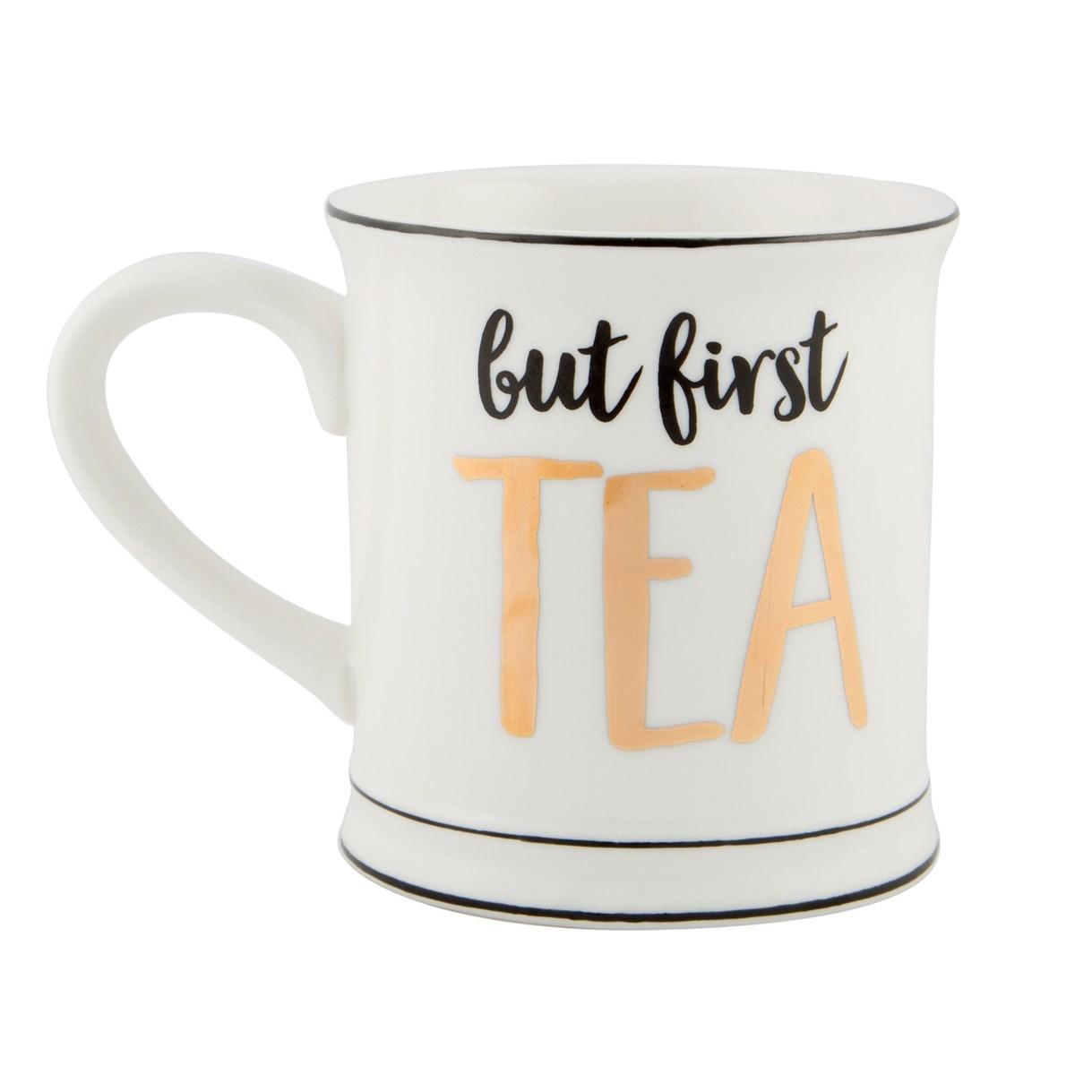 Metallic Monochrome Mug (But First Tea) image