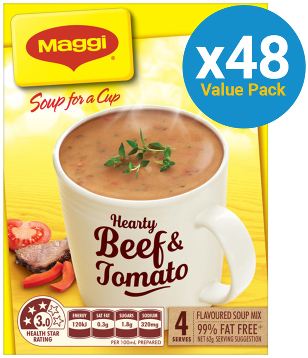 MAGGI Soup for a Cup Hearty Beef & Tomato 62g 48pk