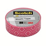 Scotch Washi Craft Tape Pink Quatrefoil 15mm x 10m