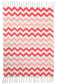 Chevron Rug With Tassel Fringe - Pink