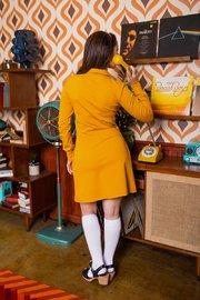 Retrolicious: Twiggy Dress in Mustard Ponte - Small image