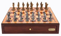 "Dal Rossi: Medieval Warriors - 18"" Pewter Chess Set (Red Mahogany)"