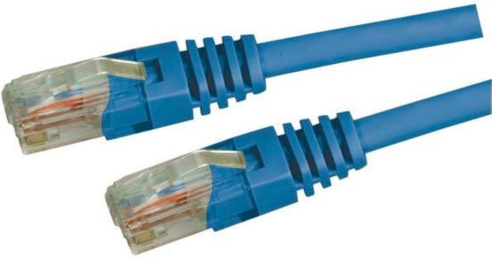 DYNAMIX Cat5e UTP Patch Lead (T568A Specification) 100MHz Slimline Moulding & Latch Down Plug 24AWG - Blue (1m) image