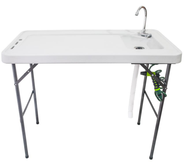 Premium Foldable Camping and Filleting Table with Folding Tap and Cleaning Hose