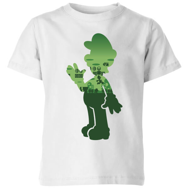 Nintendo Super Mario Luigi Silhouette Kids' T-Shirt - White - 11-12 Years