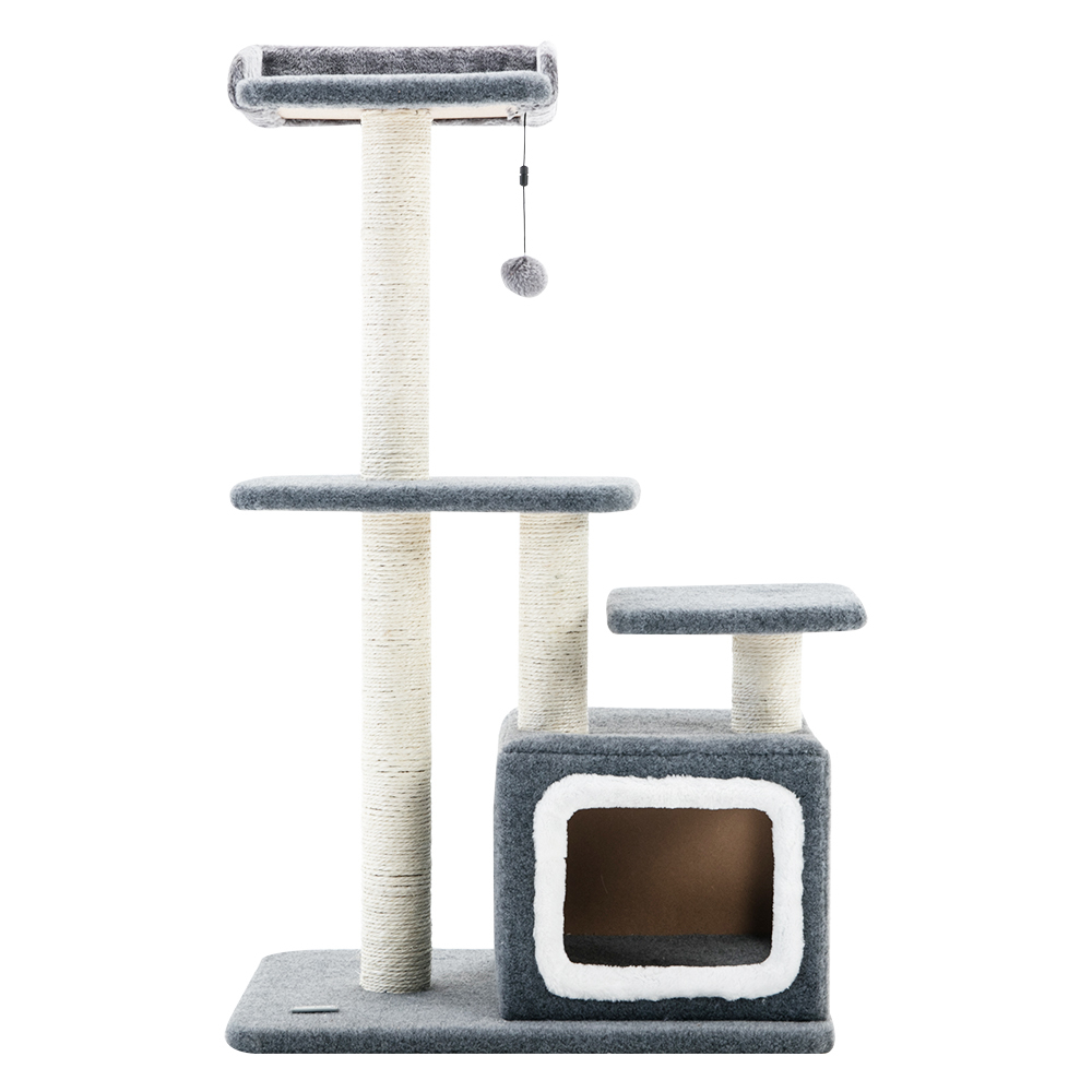 Cat Tree (4 Levels) With Snuggle Cube 1M Charcoal / White image