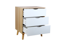 Bedside Table Nightstand 3 Drawer with Solid Wood Legs- Natural & White
