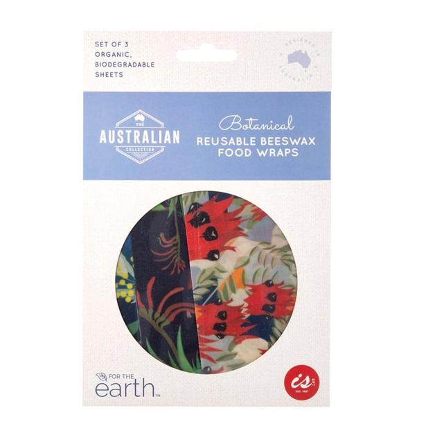 Reusable Beeswax Food Wraps - Botanical (Set of 3)