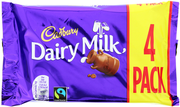Cadbury Dairy Milk Chocolate Bars 4pk
