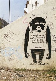 Blue Island Press Cards: Banksy - Monkey Sign