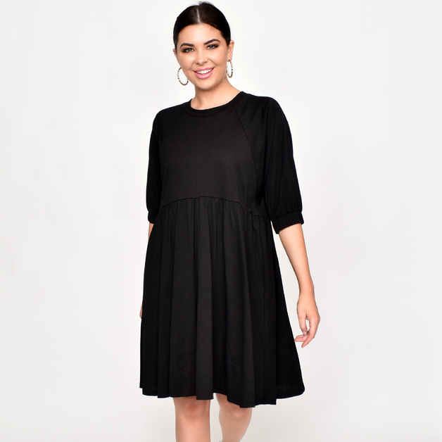 Adorne: Tilly Jersey Cotton Dress - Black (M/L)
