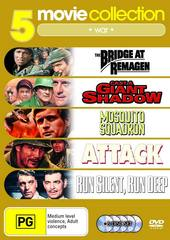 5 Movie Collection: War Bridge At Remegen/Cast A Giant Shadow/Mosquito Squadron/Attack/Run Silent Run Deep on DVD