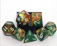 Chessex Gemini Polyhedral Dice Set Green-Gold/White