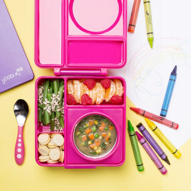 OmieBox Kids Thermos-Insulated Bento Box - Pink Berry