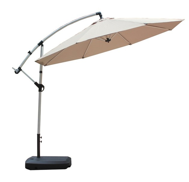 Beige Outdoor Aluminium Cantilever Umbrella with Crank Handle - 3M