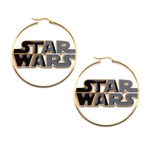 Star Wars Gold Plated Logo Hoop Earrings