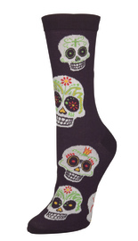 Socksmith: Women's Big Muertos Skull Crew Socks - White