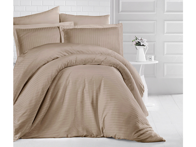 Queen Size Stripe Satin Duvet Cover Set - Light Coffee