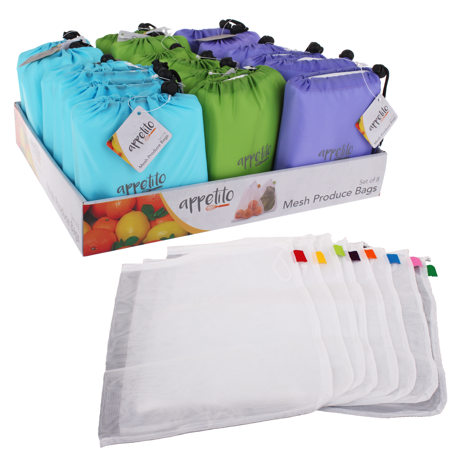 appetito reusable mesh produce bags set of 8 at mighty ape australia. Black Bedroom Furniture Sets. Home Design Ideas