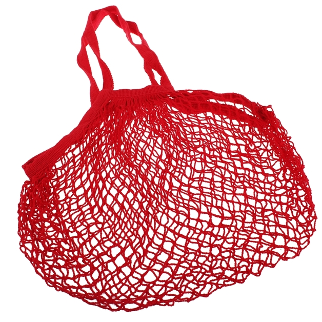 Cotton String Bag Long Handle - Red