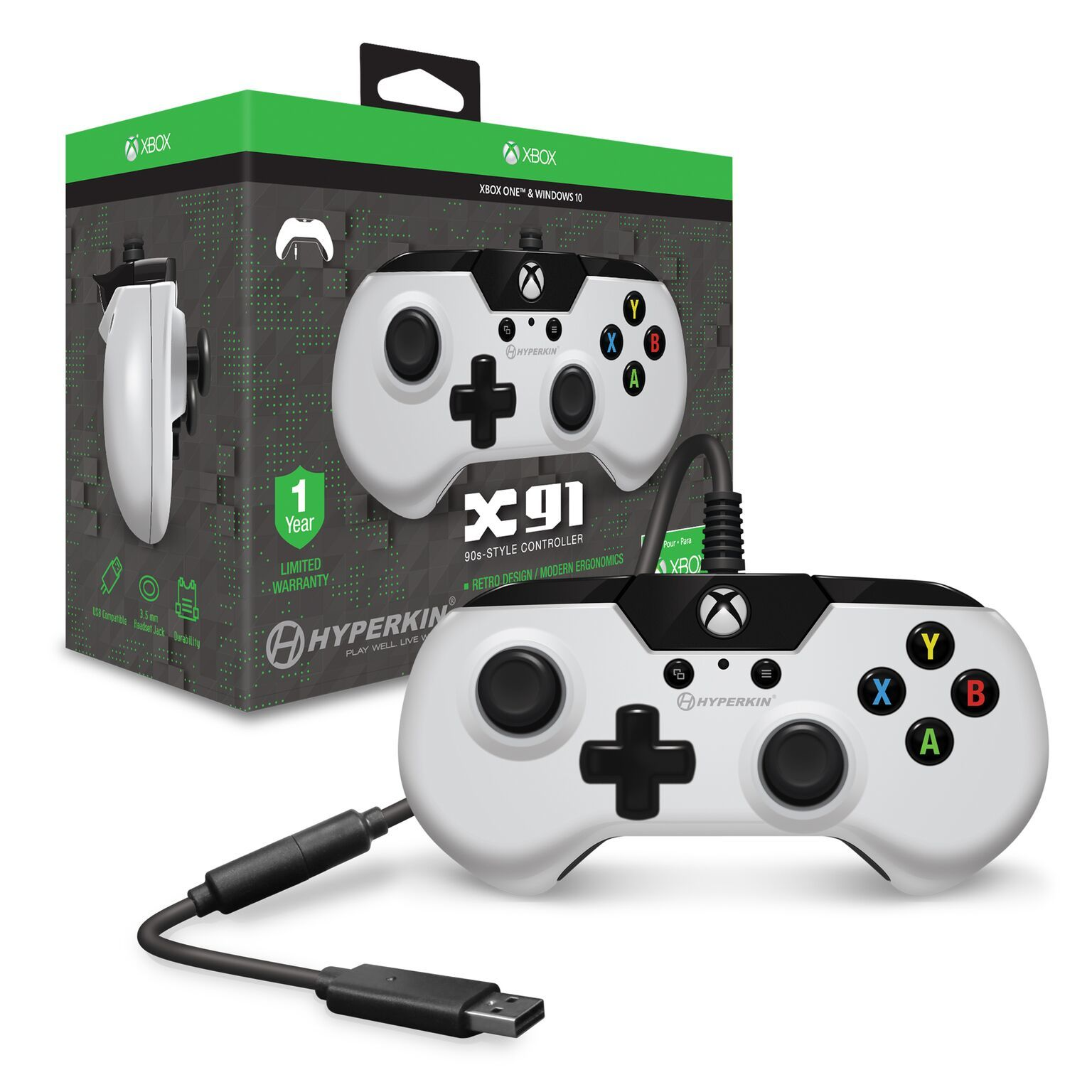 Hyperkin X91 Wired Controller for Xbox One - White | Xbox One | On ...