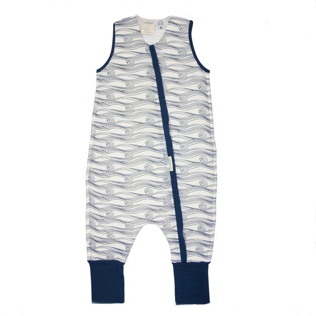 Woolbabe: Duvet Sleeping Suit Midnight Waves - 2 Years