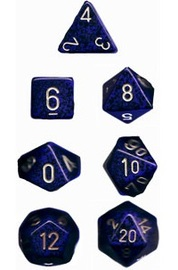 Chessex - Polyhedral Dice Set - Golden Colbalt Speckled