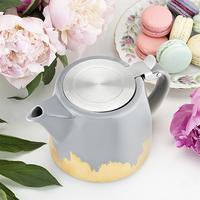 Pinky Up: Harper - Brushed Ceramic Teapot & Infuser (Grey/Gold)