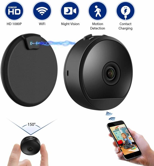 Hidden Spy Camera 1080P HD Built-in Battery Contact Charging Motion Detection