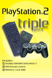 PlayStation 2 Triple Pack (Remote, Memory Card, Dual Shock 2) for PlayStation 2