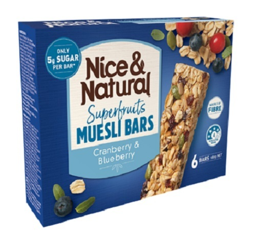 Nice & Natural Roasted Nut Bar - Cranberry & Blueberry (180g x 8)