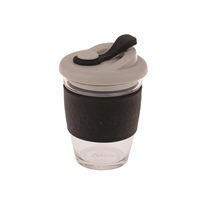 Oasis Glass Coffee Cup - Black (340ml)