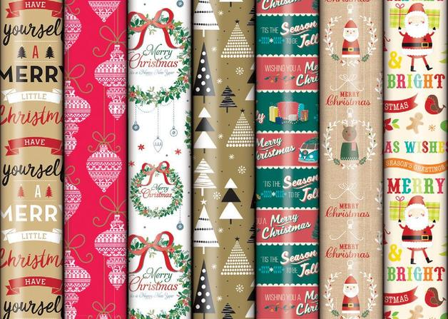 Christmas Roll Wrap - Assorted Glossy (5m)