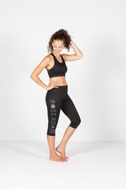 Rose Road: 3/4 Leggings - Black With Logo - X Small image