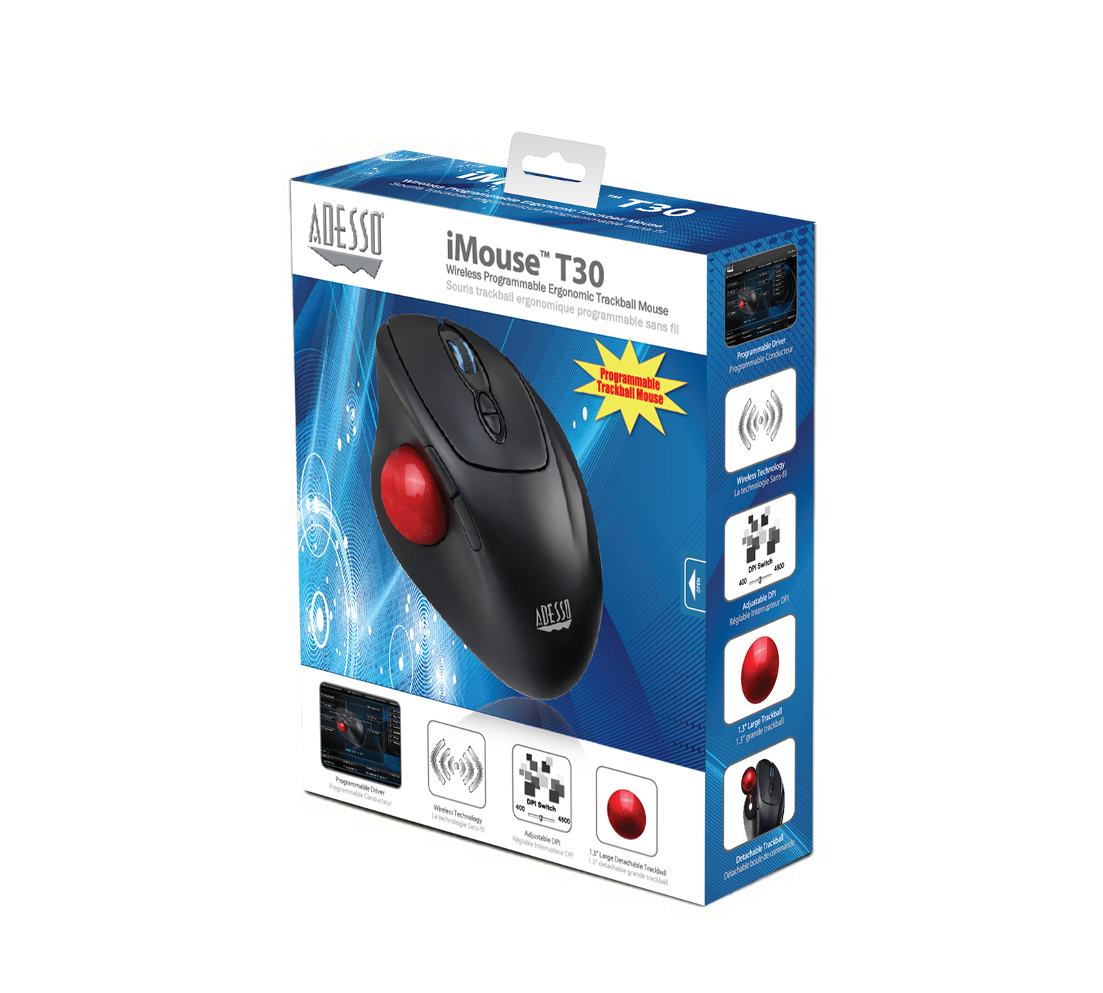 8e48abc3c88 ... Adesso: iMouse T30 – Wireless Programmable Ergonomic Trackball Mouse  image
